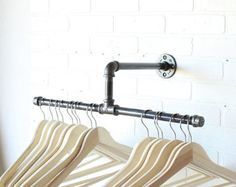 Clothing Rack - Galvanized Steel Pipe - Silver -Retail Display - Industrial Clothing Rack Galvanized Steel Pipe Silver by CoronaConceptsCo Laundry Room Shelves, Closet Shelves, Laundry Room Organization, Laundry Rooms, Ikea Laundry, Laundry Hanger, Bedroom Shelves, Laundry Closet, Laundry Hanging Rack