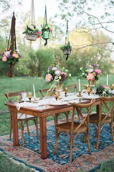bohemian reception table - photo by Sharon Litchfield Photography http://ruffledblog.com/handcrafted-bohemian-bridal-shoot
