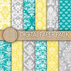 Damask Digital Paper Pack // Blue Teal Yellow Gray White // Damask and Floral Patterns // Commercial Use // 12438. $3.50, via Etsy.