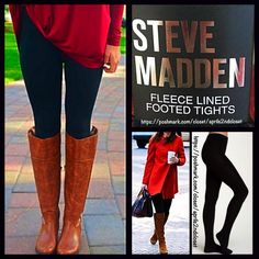 """Black Fleece Lined Tights  NEW WITH TAGS  SIZE: S/M Steve Madden Black FLEECE LINED TIGHTS * Incredibly comfortable & high quality; Opaque black & not sheer.  * Fabulous for layering  * Will not fade or shrink; Machine wash.  * Tagged size S/M will approx fit 4'10""""- 5'8"""" and 90-145 LBS * Super Soft & Cozy; Stretch-To-Fit Style   Fabric: 93% Polyester & 7% Spandex; Machine Wash Cold Color: Jet Black ✅ Bundle Discounts ✅ No Trades  Steve Madden Accessories Hosiery & Socks"""
