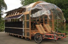 caravan This cargo bike, called the Solar, has eight wheels, two drivers and can be used to transport cargo or as a mobile home. (Nico Jungel, G. Kombi Motorhome, Camper Trailers, Campers, Glamping, Mobile Architecture, Architecture Portfolio, Velo Cargo, Kombi Home, Bike Trailer