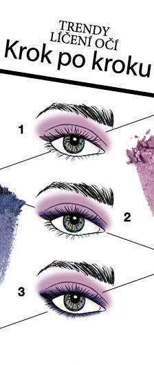 Vytvořte si trendy líčení díky nové paletce očním stínů Saphire Noir z kolekce Midnight Jewels.  1. Růžovým odstínem přetřete celé víčko. Tmavšími šedými stíny orámujte oko jako by to byla konturovací tužka.  2. Šedou konturu přetřete ještě světlejším fialovým odstínem. 3. Spodní linii řas orámujte konturovací tužkou Violet Ink.
