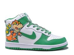 sports shoes 83fd5 3d23f Bowser Custom Nike Dunks High,Colorway WhiteGreenOrangeYellow,Material  Leather, Rubber,Release 2011