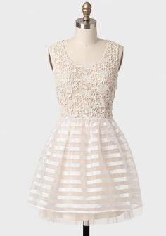 Serenade Lace Detail Striped Dress