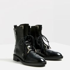 LEATHER LACE - UP ANKLE BOOTS-View all-SHOES-WOMAN | ZARA Latvia