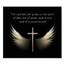 Holy Spirit Wings with Cross and Scripture Verse Poster
