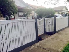 A gallery of capped picket fences from in & around Melbourne by Ripples Traditional Fencing and Gates. Front Fence, Jpg, Garden Gates, House Front, Outdoor Furniture, Outdoor Decor, Picket Fences, Melbourne, Fencing