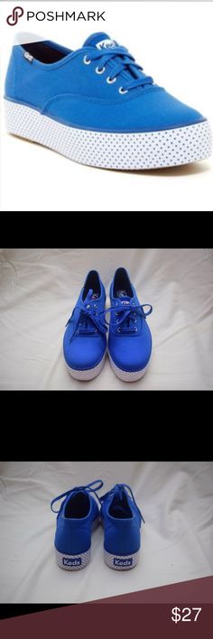 🆕 Colbalt Blue Triple Dot Flatform By Keds NWT no box ... Cobalt Blue Triple Dot Flatform by Keds. Size: 8 - Material: Manmade - Color: Cobalt Blue w/ white Flatform & blue polka dots Keds Shoes Sneakers