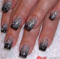 Black French Manicure with Glitter. Do the manicure with black and then add glitter of the middle. New Year's Nails, Love Nails, Fun Nails, Glittery Nails, Glitter Nail Art, Silver Glitter, Glitter Toms, Silver Ombre, Silver Sparkle Nails