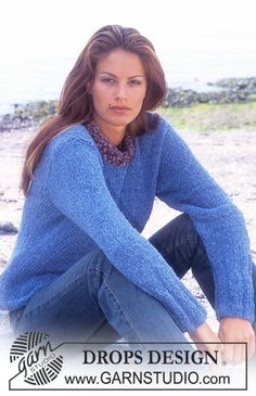 DROPS Pullover in Passion and Puddel. Free pattern by DROPS Design.