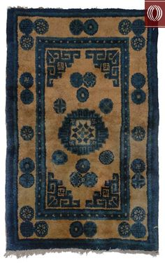 Dilmaghani rgs, n.y.,   Contrasting Ivory Blue Antique Chinese Rug 021359
