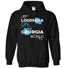 (LAXanh001) Just A Louisana Girl In A Georgia World - #polo shirt #teacher shirt. CHEAP PRICE => https://www.sunfrog.com/Valentines/-28LAXanh001-29-Just-A-Louisana-Girl-In-A-Georgia-World-Black-Hoodie.html?68278