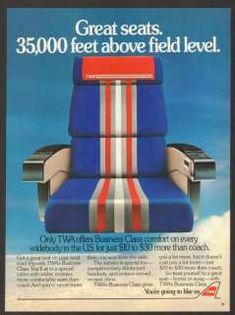 1984 TWA Airlines Vintage Print Ad Airplane Seat