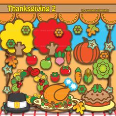 Thanksgiving 2 - PNG SVG EPS Vector Instant Download Printable Cliparts Clip Arts Digital File Scrapbook Kit by clipartsuperstore on Etsy