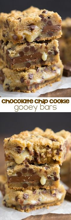 Chocolate Chip Gooey Bars - the perfect chocolate chip cookie bar filled with sweetened condensed milk and tons of chocolate.