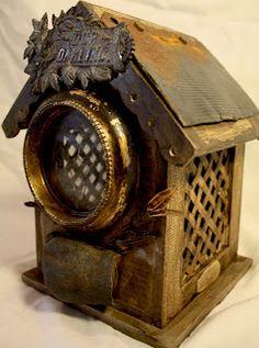 steam punkish bird house by Lorraine Reynolds