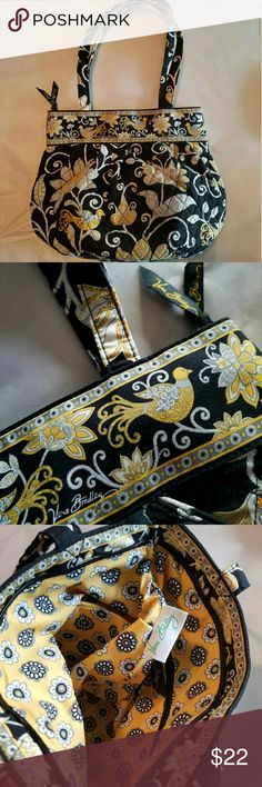 VERA BRADLEY Black & Yellow BAG W/ZIPPER HANDLE Black and yellow w/bird design. Vera Bradley signed, with black/yellow zipper tag. Bright yellow w/black flowers inside lining, zipper pocket. Vera Bradley Bags Satchels
