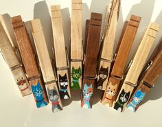 CAT WOODEN CLOTHESPINS hand painted cat faces magnets by SugarAndPaint on Etsy