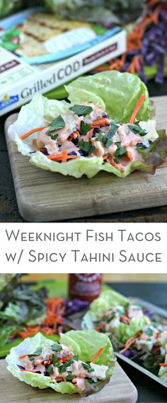 Weeknight Fish Tacos with Spicy Tahini Sauce. This quick dinner is gluten free, low carb and perfect for those busy nights where dinner seems impossible! via @EverydayMaven  #trustgortons