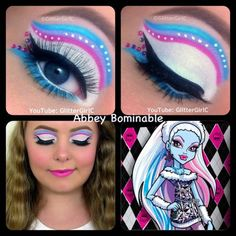 This makeup look is inspired by Abbey from Monster High! :D I hope you like it! Video tutorial: Products used: Urban Decay - Primer Potion ( NYX - Jumbo Eye Pencil in Milk ( Sug. Trajes Monster High, Festa Monster High, Monster High Abbey, Monster High Birthday, Monster High Party, Monster High Dolls, Disney Inspired Makeup, Disney Makeup, Monster High Halloween
