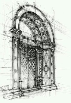 Architectural sketch of ~ gabahadatta on deviantART - Architecture Ideas Art Et Architecture, Architecture Details, Architecture Drawing Sketchbooks, Architecture Diagrams, Architecture Portfolio, Art Sketches, Art Drawings, Sketches Of Buildings, Perspective Drawing