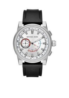 83e55b7684d0 Michael Kors Access Men s Grayson Stainless-Steel Black Silicone Hybrid  Smartwatch