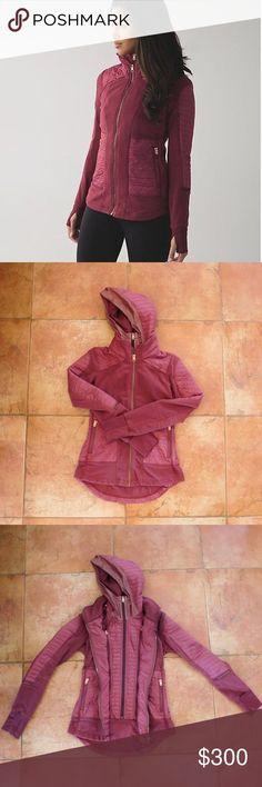 Lululemon Fleecy Keen Jacket III - Wine Berry 4 EUC! This jacket has only been worn 3x, at most. Wine Berry color/ dark red/ maroon. With rose gold accents (zippers, logos, etc.)  Rip tag removed. NO TRADES.  Key features * Fleece fabric is super soft and lightweight * quilted Glyde fabric helps protect against light wind & rain * zip on the removable hooded dickie w/ drawstrings * reflective details for visibility in low light * vents on the arm and shoulder for airflow * thumbholes…