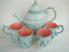 Miranda Berrow, blue tea set with silver detailing. Fit for a mermaid, don't you think?  :)