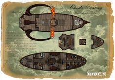 House Lyrander Airship by alphstar on DeviantArt Fantasy Map, Fantasy Dragon, Medieval Fantasy, Final Fantasy, Ship Map, Map Sketch, Isometric Map, Pathfinder Rpg, Dungeon Maps