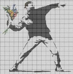 Banksy cross stitch pattern #embroidery