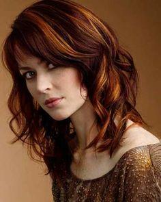 Warm brown hair with autumn-leaf orange and caramel  highlights! So pretty. ^_^