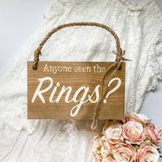 Wedding In The Woods, Wedding Day, Wedding Rings, Wooden Wedding Signs, Country Barn Weddings, Oak Stain, Guest Book Alternatives, Hanging Signs, Photo Props