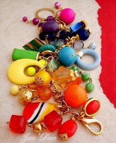 recycled vintage jewelry | Rainbow CHARM BRACELET Recycled Vintage Jewelry by janedean