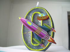 Space/RocketShip Birthday Candle by SweetLilPeaches on Etsy