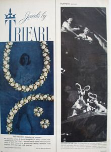 Trifari Jewelry Freshest Fashion Of Spring Ad 1959 This is a April 13, 1959 advertisement. It is a nice color ad from Trifari . Pictured is the Southampton , pseudo pearls tipped with turquoise, coral or pearl tones in a golden setting. Suit is by Maurice Rentner. In mint condition. Photo is taken through plastic and may show wrinkles or crookedness that is not in the ad. This original magazine tear sheet measures 5 inches wide by 13 1/2 inches tall