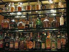 Well stocked home bar shelves full of liquor bottles mixers u0026 some glassware. & 114 best Stock Your Bar images on Pinterest | Alcohol Bars for home ...