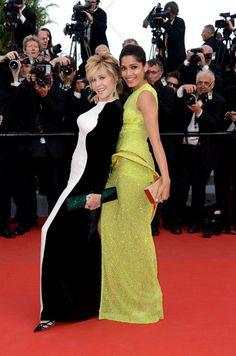 Jane Fonda in Stella McCartney and Freida Pinto in Atelier Versace. WERK.