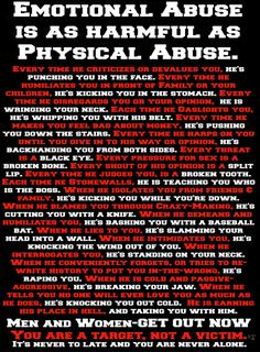 Abuse is abuse is abuse. It's about power and control. Physical abuse u can see but it is likely a small part of the emotional abuse that accompanies it. Find your power! Emotional abuse is real. Narcissistic Sociopath, Narcissistic Personality Disorder, Narcissistic Behavior, Narcissistic Characteristics, Narcissistic Abuse Syndrome, Narcissistic Mother, Abusive Relationship, Toxic Relationships, Affirmations