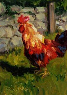 """""""Cock A Doodle Do"""" - Original Fine Art for Sale - © Erin Dertner #rooster #farmanimals"""