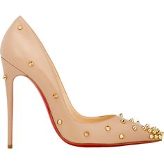 Christian Louboutin Degraspike Pumps featuring polyvore, fashion, shoes, pumps, heels, christian louboutin, sapatos, nude, pointed toe high heels stilettos, spiked heel pumps, stiletto pumps, nude shoes and pointed-toe pumps