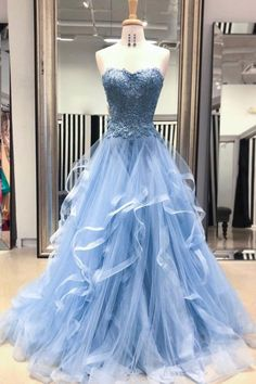 Sweetheart Blue Tulle Layered Long Prom Dress, Lace Evening dress #cabinets