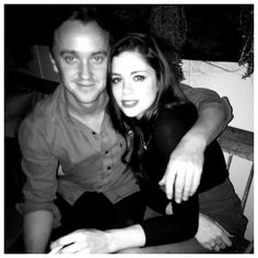 "Tom Felton with Charlotte Hope (his co-star from ""A United Kingdom"" movie) x"