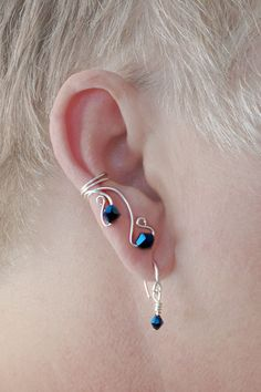 ***2****////visitare.............///Ear Cuff Pair COMBO with WEE WIRES Midnight Blue by TheLazyLeopard, $25.00
