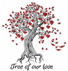 Tree of our love machine embroidery design. Machine embroidery design. www.embroideres.com