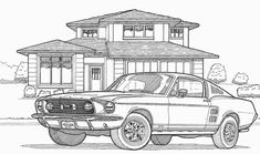 Coloriage Les transports ! Mustang