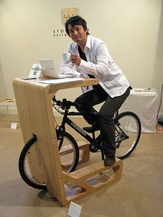 Want. One. Now. Riding while working. (as long as it has a bigger, more comfortable seat ;-) ) - Bike non-stop....