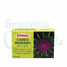 Integralia, Cardo Mariano Plus, a base de cardo mariano, boldo, diente de león, extracto de achicoria, fumaria y oregano que favorece el bienestar digestivo y depurativo del hígado.