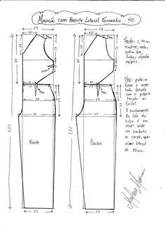 Esquema de modelagem de Macacão com Recorte Lateral tamanho 40.
