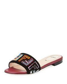 325e53635f7d Fendi FF Velvet Embroidered Slide Sandal