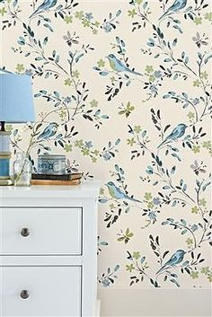 Next Teal Birds Wallpaper San Diego Blue Green Floral Flower Shabby Chic Vintage